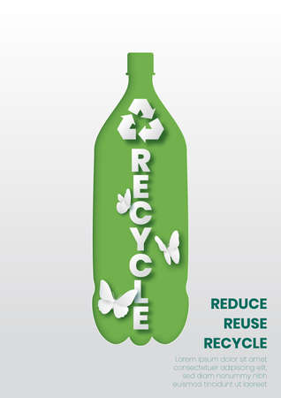Plastic bottle with recycle sign over white background,Paper art and digital craft style