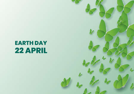 Earth day concept with butterfly flying over,Paper art and digital craft style Çizim