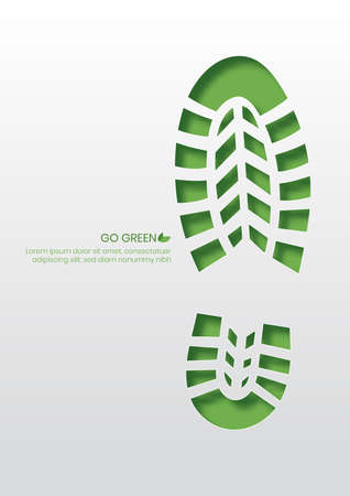 Going green concept,Shoe print paper cut style vector illustration