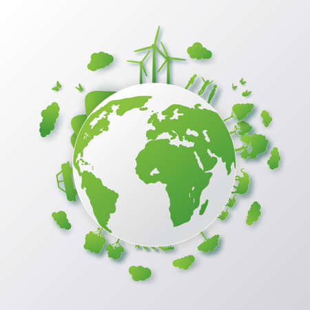 Concept of green city with building on earth. World environment day,Paper art 3d from digital craft