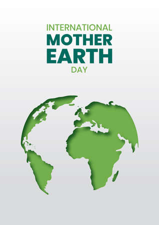 International Mother Earth Day illustration of green papercut world map. Recycled paper cutout for planet conservation awareness Vektoros illusztráció