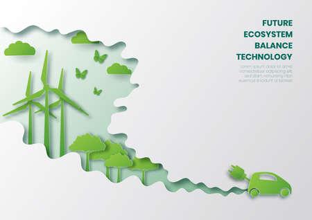 Future ecosystem concept,Eco car,paper cut style vector illustration.