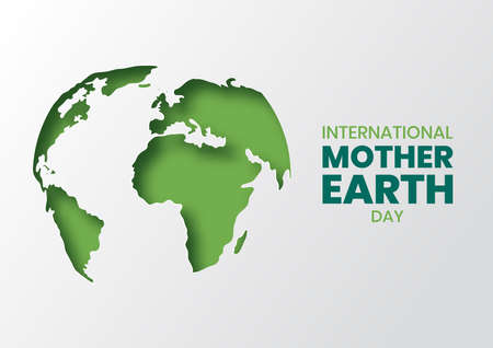 International Mother Earth Day illustration of green papercut world map. Recycled paper cutout for planet conservation awareness Çizim