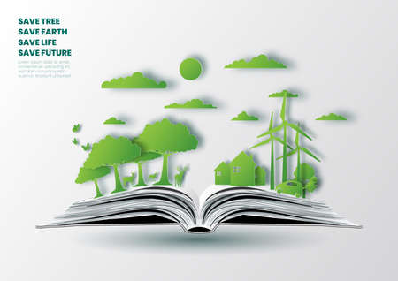 Concept of eco friendly and save the earth,Nature landscape in opened book,Paper art illustration
