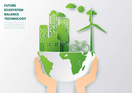 Concept of ecology and environment with tree and wind turbine,Paper art and digital craft style. Çizim