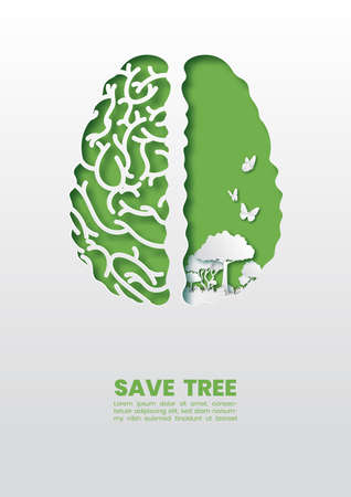 Green healthy brain with trees and butterfly concept,Paper art and digital craft style.
