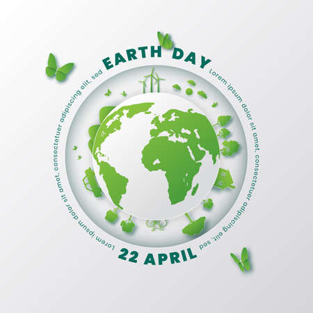 World environment and earth day concept,Paper cut 3d