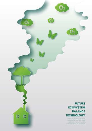 Future ecosystem concept,Energy saving house,Paper cut style vector illustration. Çizim