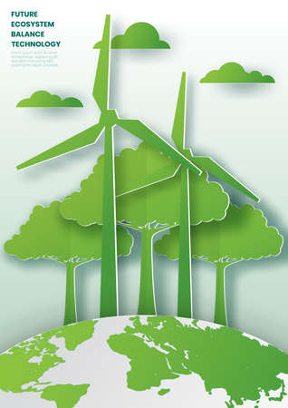 Green tree on earth for ecology friendly concept and World environment ,Paper cut style vector illustration. Çizim