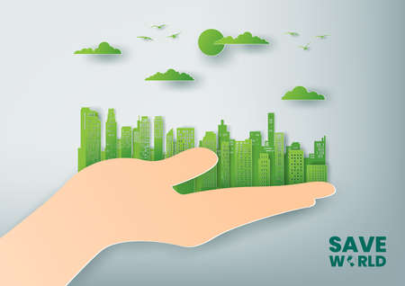 Green city and save world concept, Paper art and digital craft style Çizim
