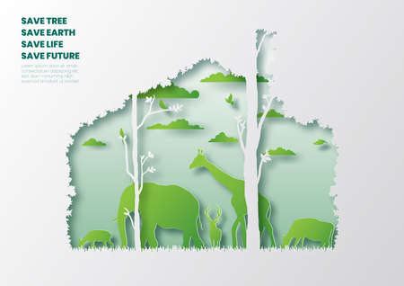 Home of wild animals,Save tree concept,Paper art and digital craft style