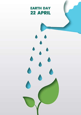 Watering can on the sapling,Earth day concept,Paper art and digital craft style