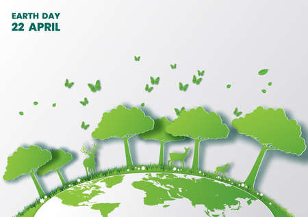Save world concept with tree,Earth Day,Paper art and digital craft style Çizim