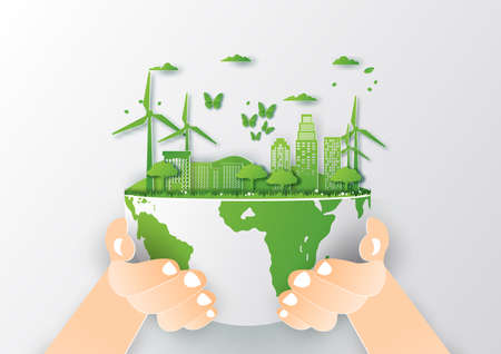 Save world concept with tree,Paper art and digital craft style