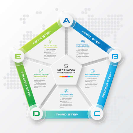 Pentagon element for infographic,Business concept with 5 options,Vector illustration.