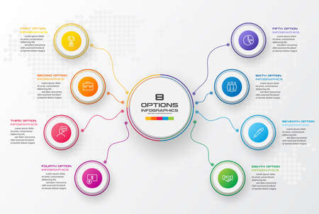 Circle chart infographic template with 8 options,Vector illustration. Ilustracja
