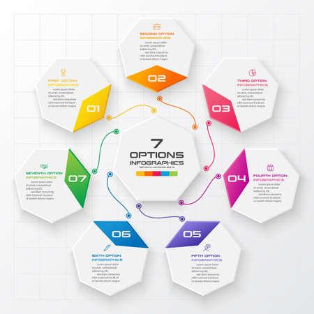 Infografica ettagono, diagramma con 7 opzioni, elemento di disegno vettoriale. Vettoriali