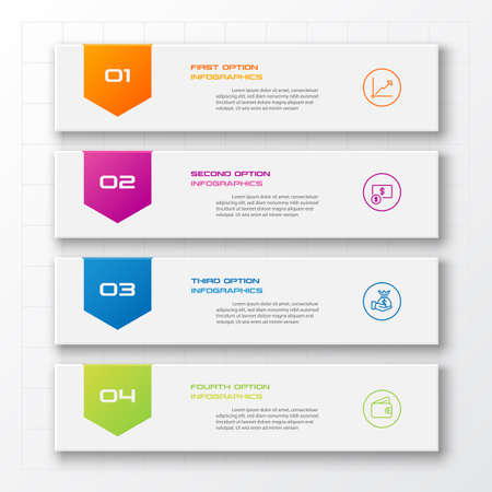 Business infographics template 4 steps rectangle,Vector illustration.