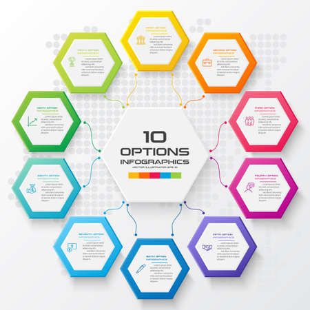 Abstract business infographics template with 10 hexagon box diagrams in white color background Ilustracja