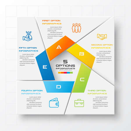 Business infographics template 5 steps with square,Element for design invitations,Vector illustration.