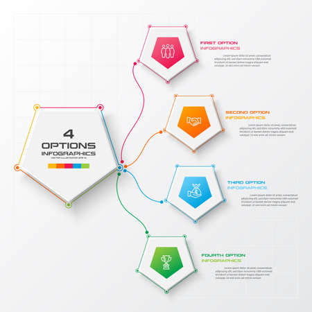 Pentagon element for infographic,Business concept with 4 options,Vector illustration.
