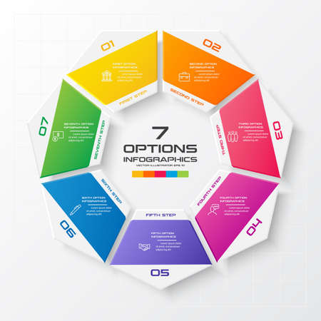 Heptagon-Infografik, Diagramm mit 7 Optionen, Vektor-Design-Element.