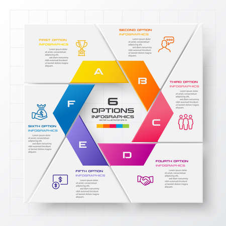 Business infographics template 6 steps with square,Element for design invitations,Vector illustration. Illustration
