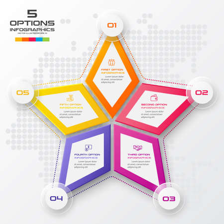 Vector star for infographic,Business concept with 5 options.
