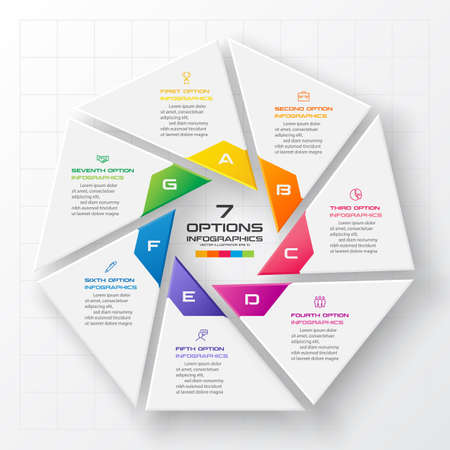 Vector heptagon element for infographic,Business concept with 7 options.