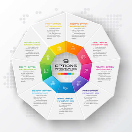 Nonagon infographic,Colorful template with 9 options,Vector illustration.