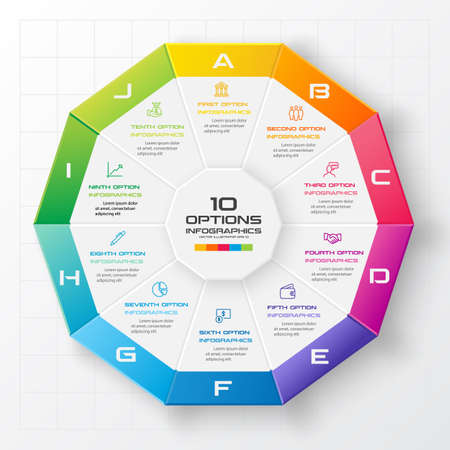 Decagon for infographics,Diagram with 10 options,Vector template for presentation.