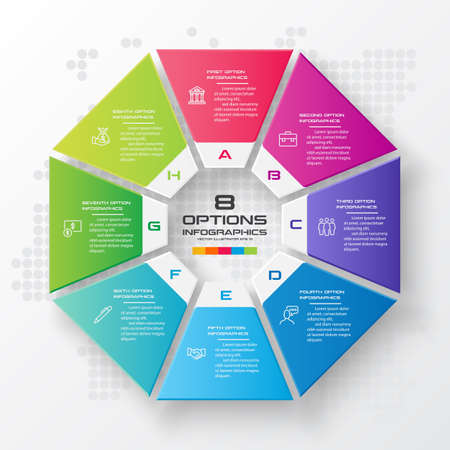 Octagon infographic fot business concept with 8 options,Abstract design element,Vector illustration.