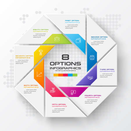 Octagon infographic fot business concept with 8 options,Abstract design element,Vector illustration. Reklamní fotografie - 140645088