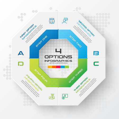 Octagon infographic fot business concept with 4 options,Abstract design element,Vector illustration.