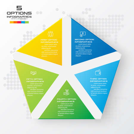 Pentagon elements for infographic,Business concept with 5 options,Vector illustration. Vecteurs