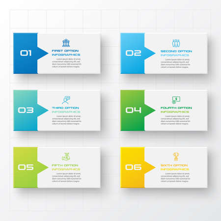 Business infographics template 6 steps rectangle,Vector illustration.