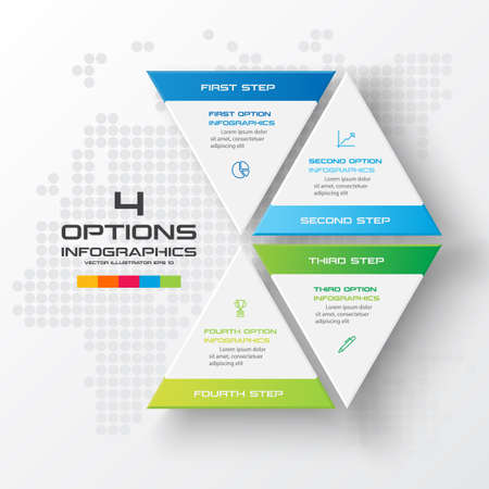 Business concept design with triangle and 4 options,Infographic template can be used for presentation,Vector illustration. Banque d'images - 140644927