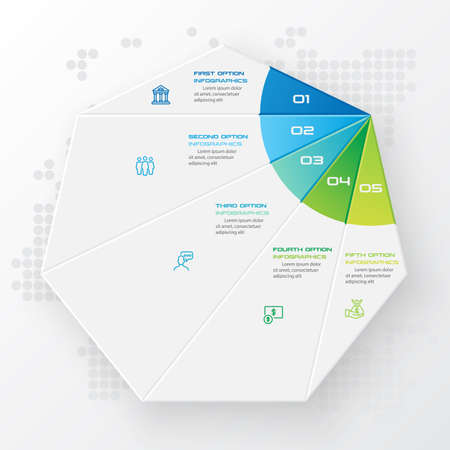 Heptagon infographic,Template for cycle diagram,Business concept 5 options,Vector illustration. Banque d'images - 140644928