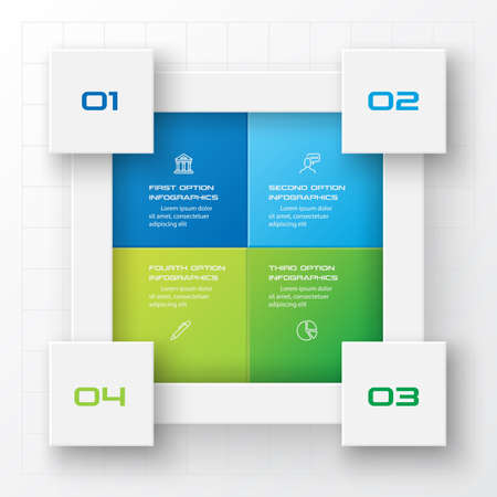 Business infographics template 4 steps with square,Element for design invitations,Vector illustration.
