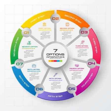 Modèle d'infographie de cercle avec 7 options, illustration vectorielle.