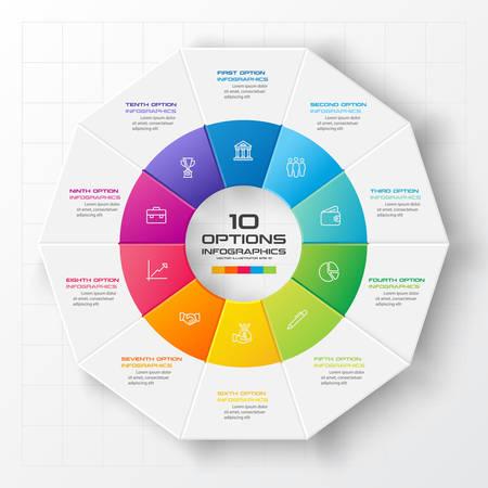 Decagon for infographics,Diagram with 10 options,Vector template for presentation. Vektorgrafik