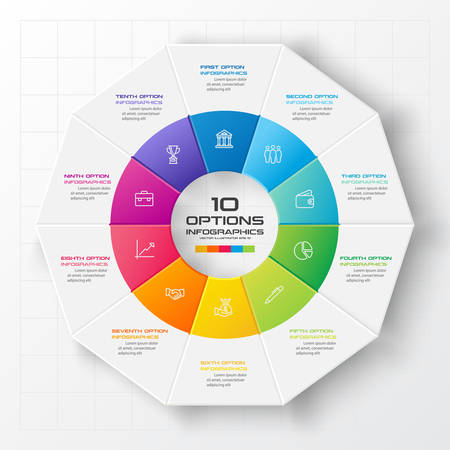 Decagon for infographics,Diagram with 10 options,Vector template for presentation. Vektorové ilustrace