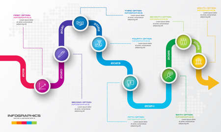 Timeline infographic template,Business concept with 8 options,Vector illustration. Ilustración de vector