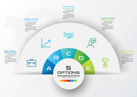 Half business circle infographics 5 steps,Abstract design element,Vector illustration.