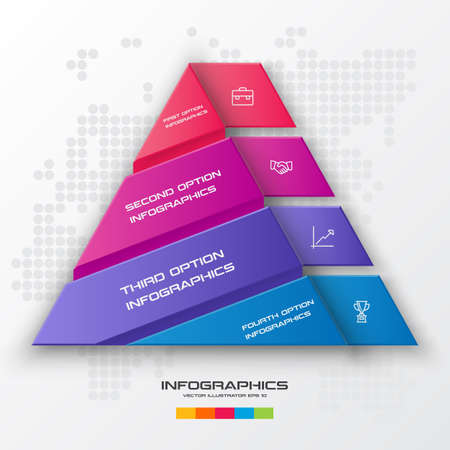 Business concept design with triangle and 4 options,Infographic template can be used for presentation,Vector illustration.