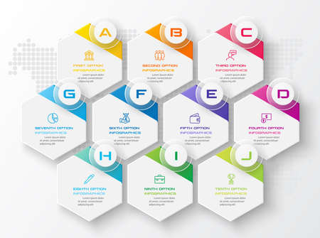 Abstract business infographics template with 10 hexagon in white color background Иллюстрация