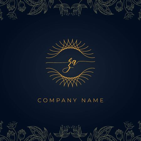 Elegant luxury initial letter Z logo. This logo icon incorporate with abstract rounded thin geometric shape in floral background. That looks luxurious and royal.