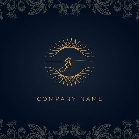 Elegant luxury initial letter ZS logo. This logo icon incorporate with abstract rounded thin geometric shape in floral background. That looks luxurious and royal.