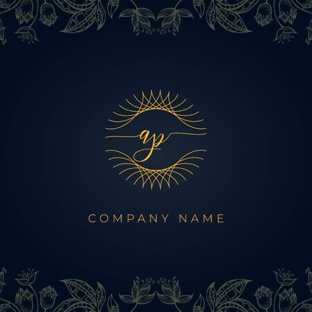 Elegant luxury letter AP logo. This icon incorporate with abstract rounded thin geometric shape in floral background.It will be suitable for which company or brand name start those initial.