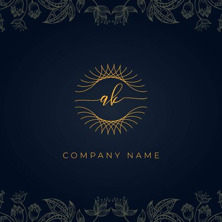 Elegant luxury letter AK logo. This icon incorporate with abstract rounded thin geometric shape in floral background.It will be suitable for which company or brand name start those initial.